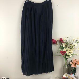 J. Crew Navy Pleated Fully Lined Maxi Skirt